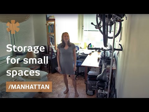 Small spaces furniture: storage bed and indoor bike rack