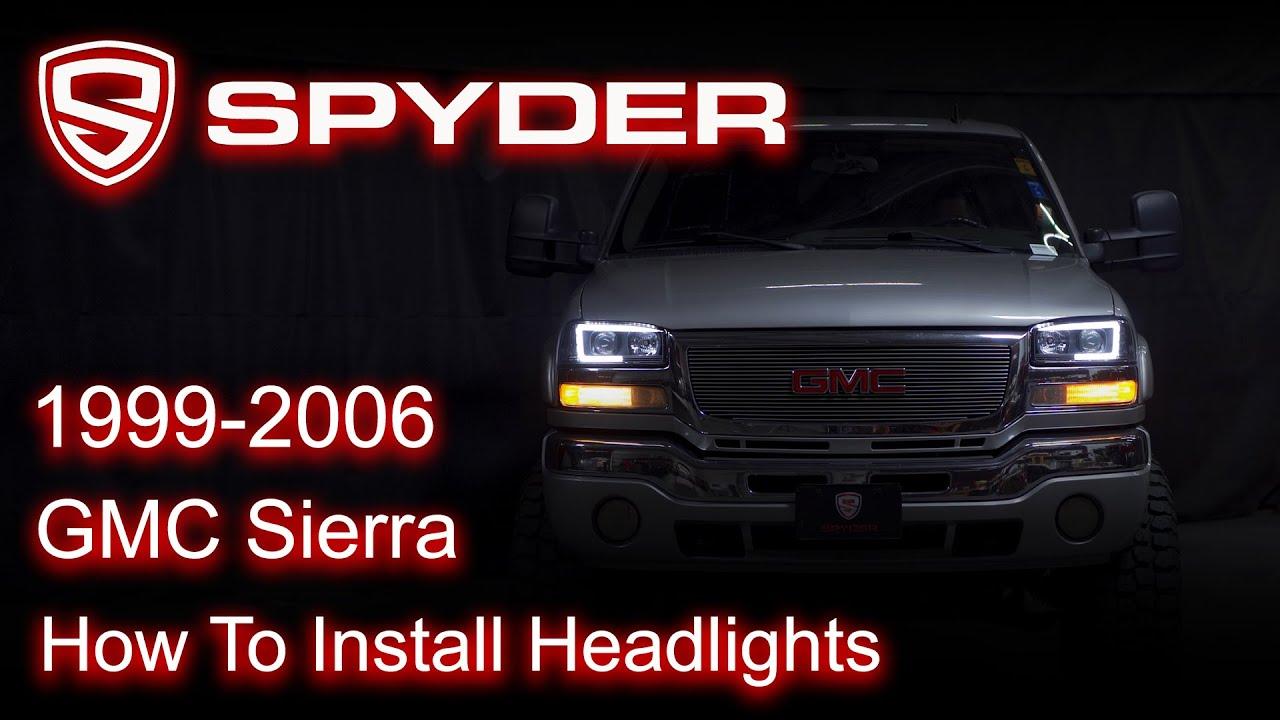 Spyder Auto Installation: 1999-2006 GMC Sierra Headlight - YouTubeYouTube