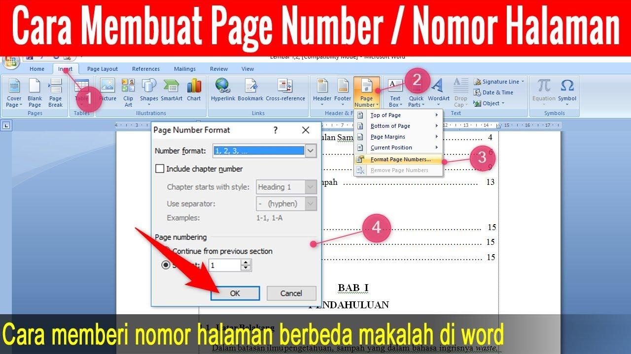 Cara Membuat Page Number Makalah Di Word Nomor Halaman Youtube