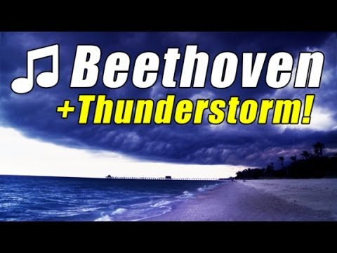 BEETHOVEN MOONLIGHT Best Piano Sonata No 14 Classical Music Video #7 Thunderstorm ocean HD 1080p