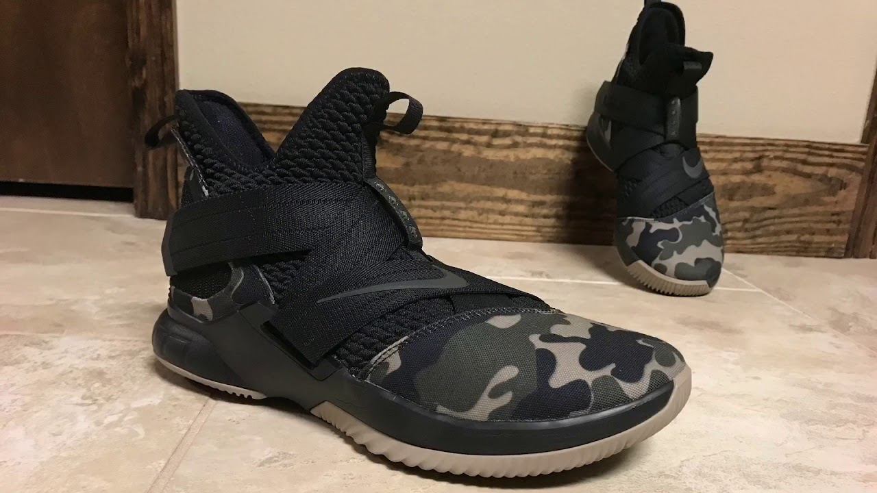 new product 6e31a 6fb1d Lebron Soldier 12 Hazel Rush/Camo on Foot