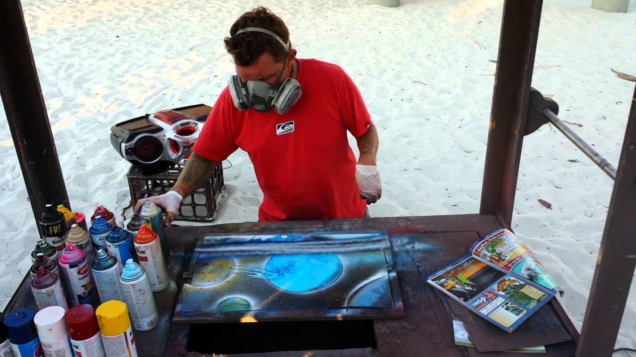 Spray paint artist designs awesome art for my son. - YouTube