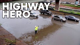 HIGHWAY HERO: Faced with flood, man single-handedly saves motorists