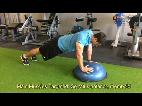 SHOULDER EXERCISES Push Up Plus On Bosu Ball On Toes
