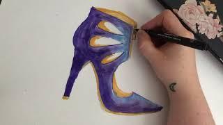 quick purple shoe sketch (felt pens)