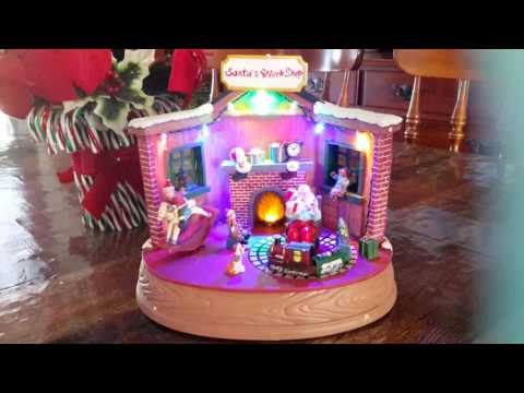 Santa's Workshop Animated Musical Christmas Figurine