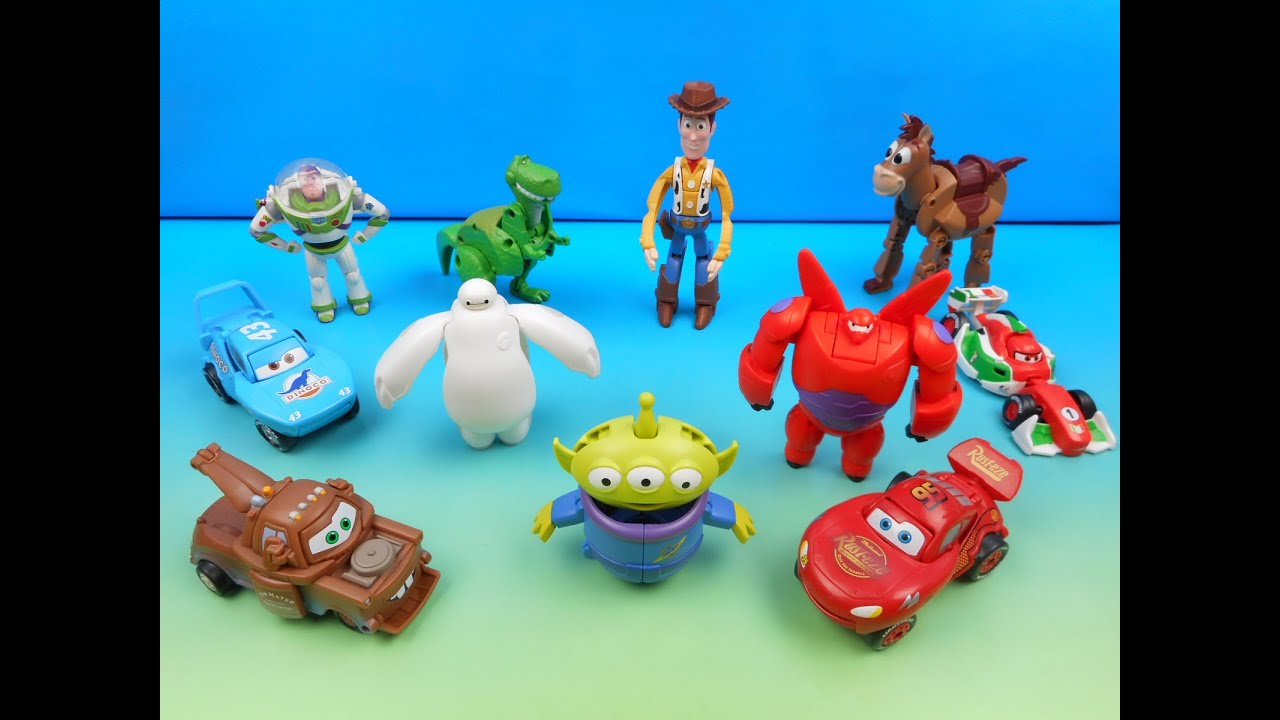 DISNEY PIXAR HATCH N' HEROES TOY STORY BIG HERO 6 CARS FULL SET OF 11 TOYS  VIDEO REVIEW