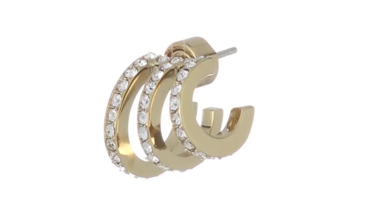 185a26c1bdfae0 Michael Kors Modern Baguette Pavé Open Work Huggie Earrings SKU:8857880