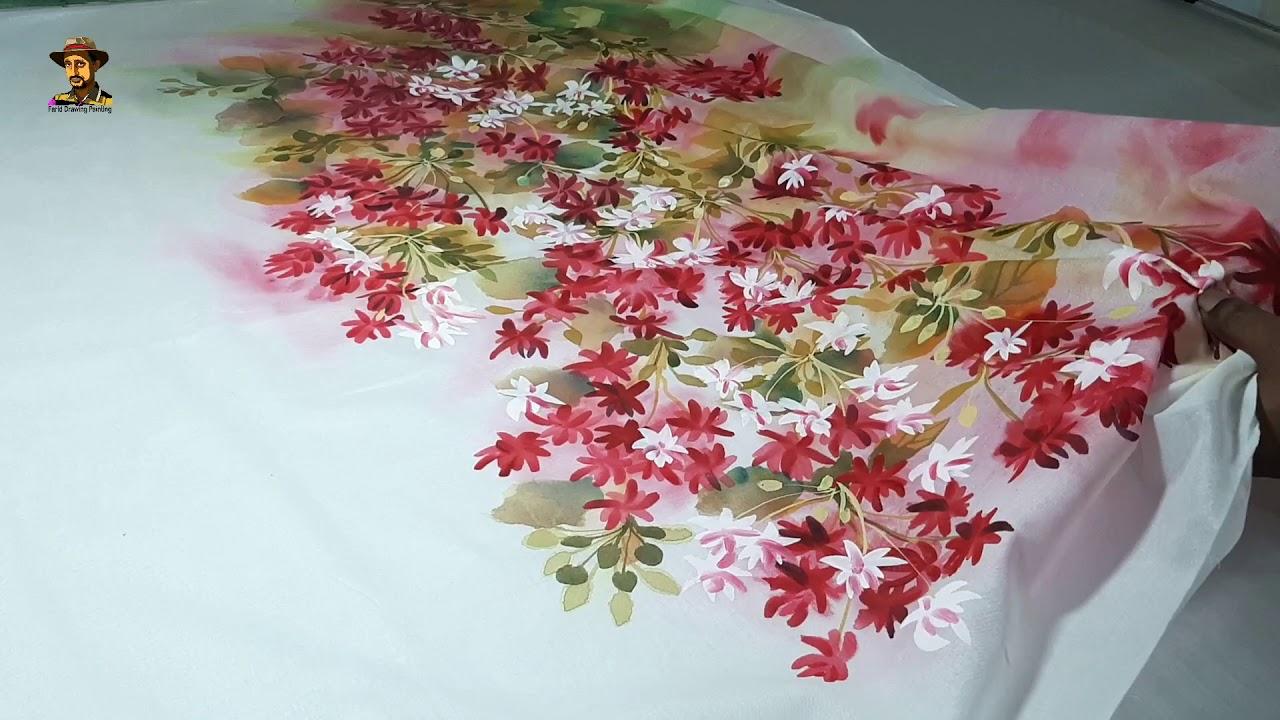 মাধবীলতা ফুল হ্যান্ড পেইন্ট জামা ডিজাইন | Madhobilota flower hand painted Jama design | ভয়েল কাপড়