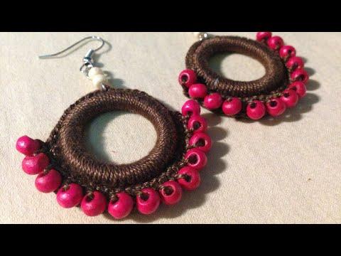 Cute Beaded Crochet earrings   Tutorial