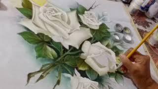 Rosas brancas – Pintura em tecido – parte 3