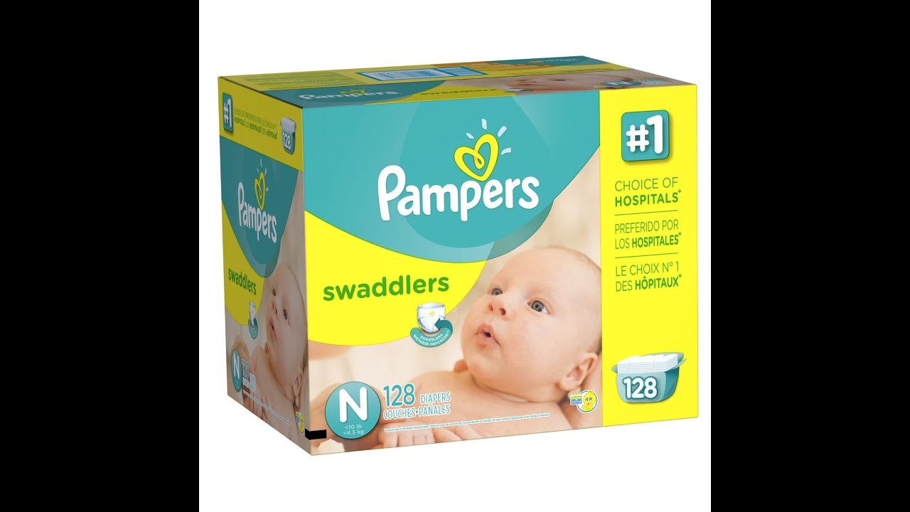 Pampers swaddlers diapers size n giant pack 128 count youtube nvjuhfo Image collections