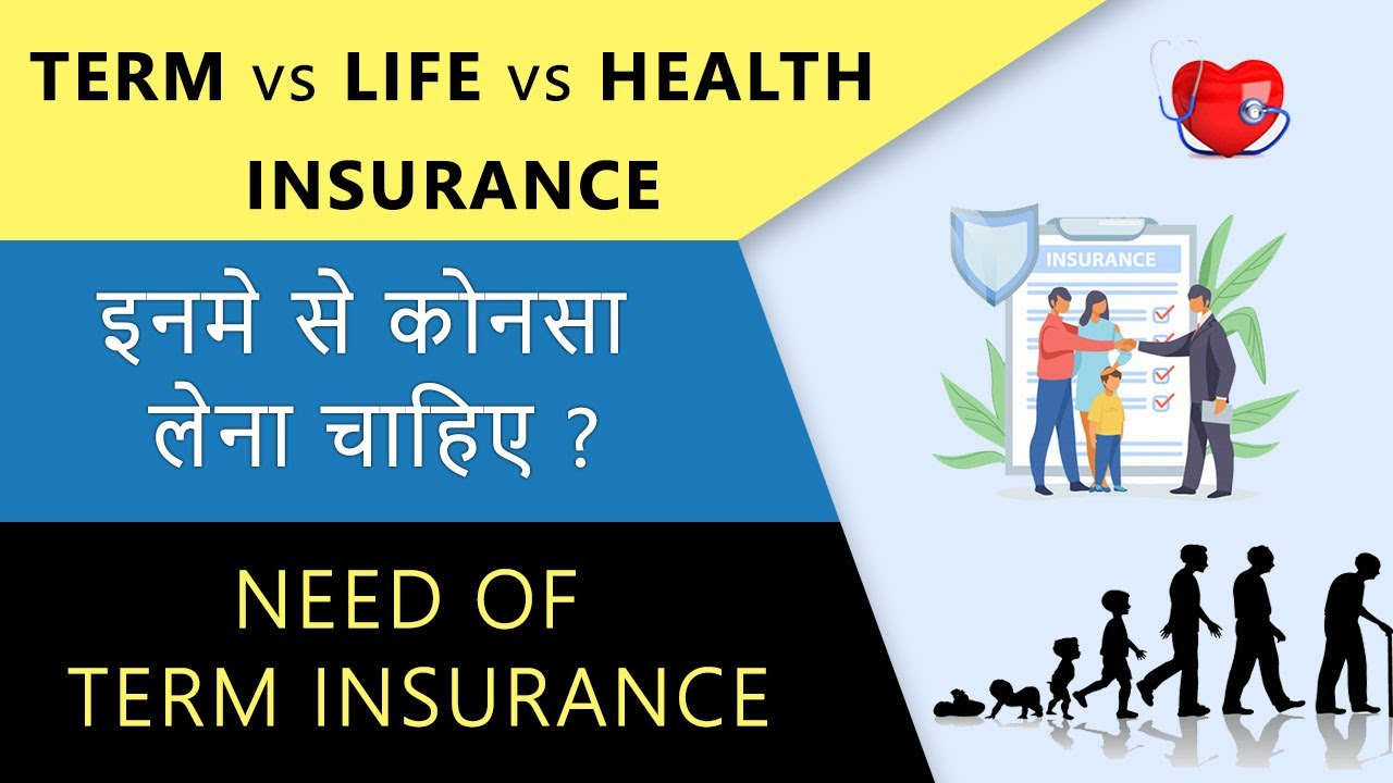 Difference Between Term Insurance, Life Insurance and Health insurance   Hindi