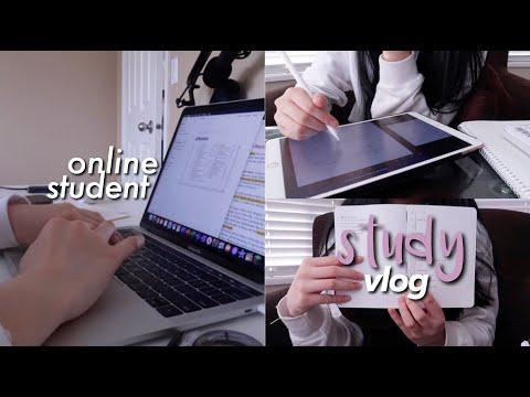 quarantine study vlog (online class, university, animal crossing)