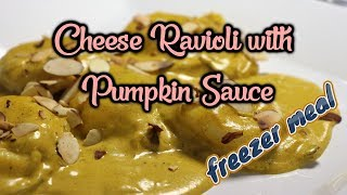 Cheese Ravioli with Pumpkin Sage Sauce (Easy Freezer Meal)