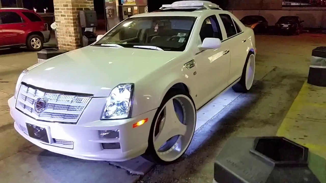 Money Mike White on White Caddy STS4 on 26s - YouTube