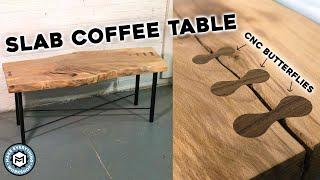 Slab Coffee Table W/ CNC Butterflies