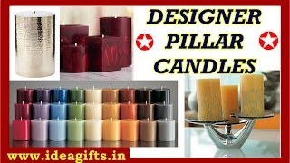 Designer Pillar Candles Corporate Logo Printing Candles In Hollow And Pillar Style India.