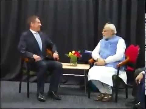 PM Modi meets New South Wales Premier Mike Baird in Sydney