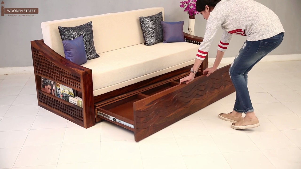 Sofa Cum Bed Shop Thar Sofa Cum Bed In Honey Finish Online Wooden Street Youtube