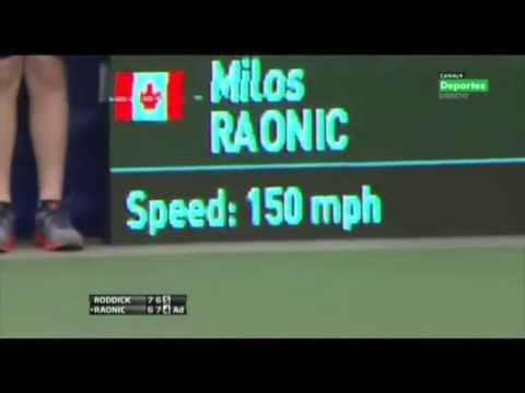 Milos Raonic serve 4 ace vs Roddick + ace a 150 mph