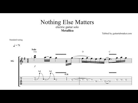 Nothing Else Matters Solo Tab Guitar Solo Tab Guitar Pro Youtube