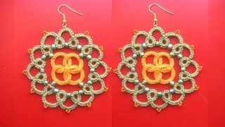 18' TUTORIAL FACILE ORECCHINI CHIACCHIERINO AD AGO CELTICO EARRINGS NEEDLE TATTING CELTIC