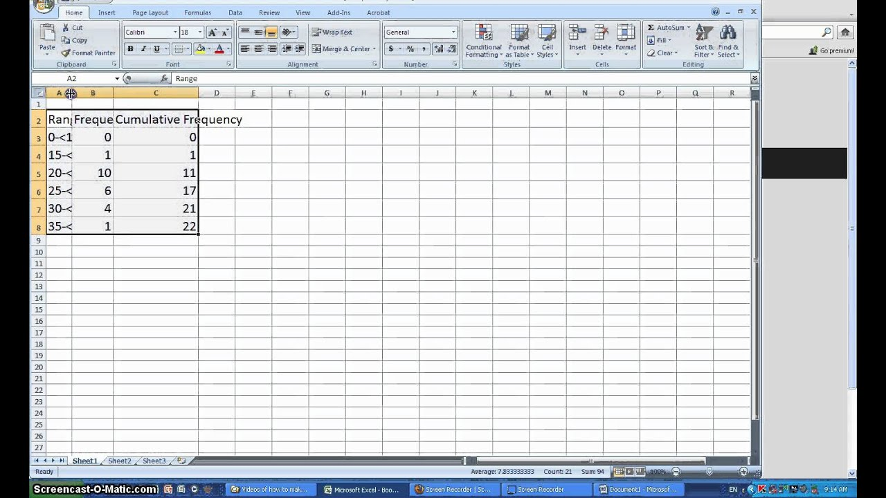 How to make a cumulative Frequency Table with Excel - YouTube
