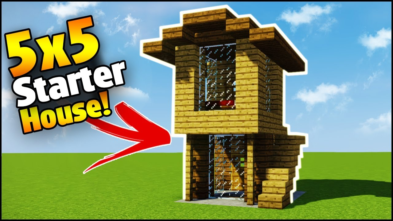 Minecraft 5x5 starter house tutorial how to build a for How to build my house