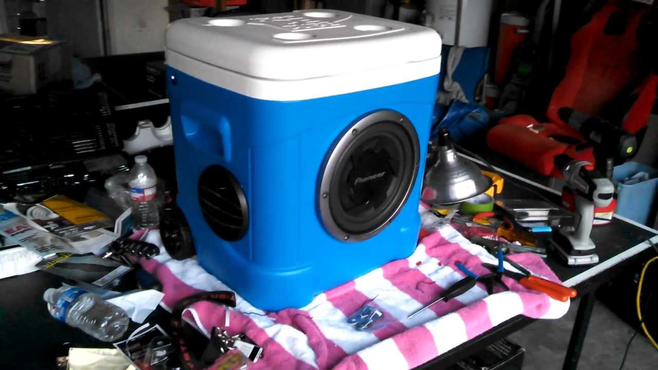 How To Build A Sub Box >> Pioneer Igloo ice chest Subwoofer Boom Box Build! - YouTube