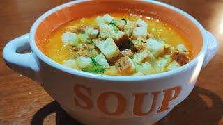 Гороховый суп. Гороховый суп с копчёной курицей и сухариками