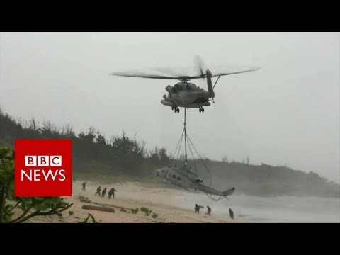 US Marines rescue their helicopter... with a bigger one - BBC News