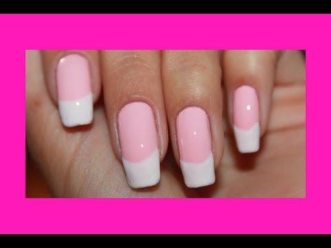 Как сделать френч на розовом тоне / How to make French on a pink tone.