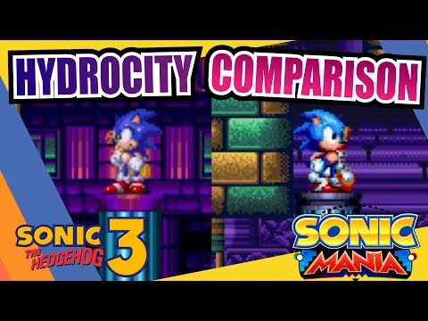 Sonic Mania and Sonic the Hedgehog 3 (Hydrocity Zone) Side by Side Comparison