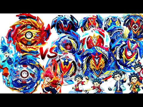 HYPERION BURN+HELIOS VOLCANO vs ALL VALKYRIES EVOLUTIONS Beyblade Burst Sparking Battleベイブレードバースト超王