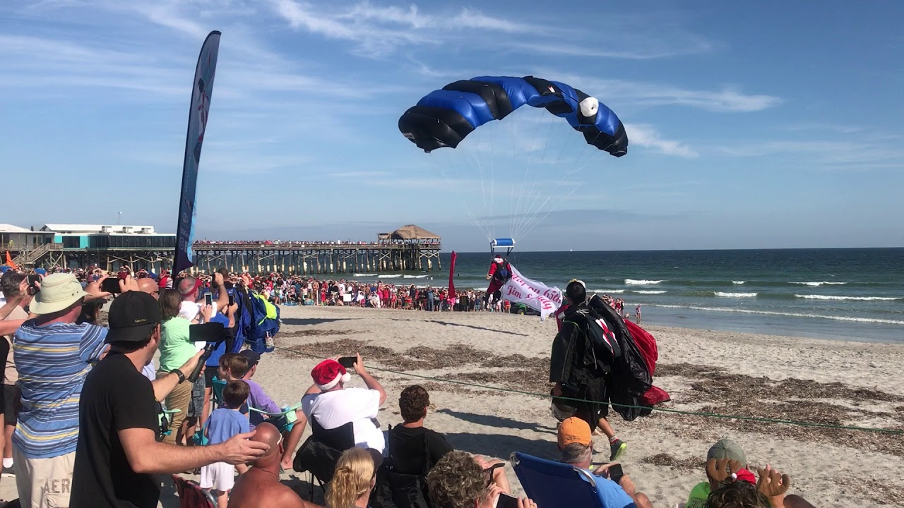 Skydiving Santa S At The Cocoa Beach Pier
