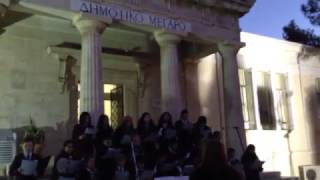 Singing Christmas songs at Paphos town hall