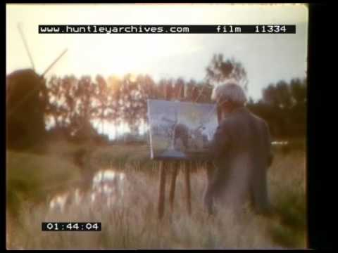 Artist Paints A Watercolour Of A Windmill In Holland, 1980s - Film 11334