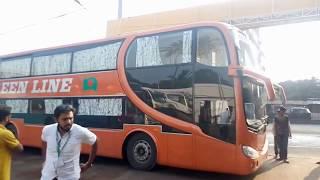 Green Line High Deck Sleeper Coach for Dhaka to Coxbazar (Local Made) Interior and Exterior