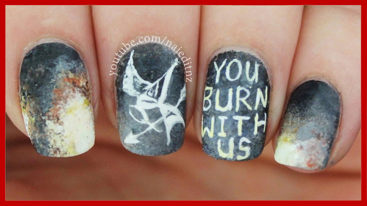 Mockingjay Part 2 Nail Art | The Hunger Games - YouTube