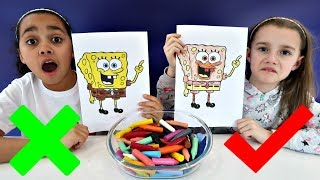 Hi friends:) Me and Macie play the 3 Marker Challenge with Spongebo...