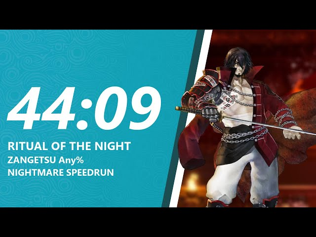 Ritual of the Night Zangetsu Any% NIGHTMARE Speedrun in 44:09