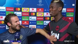 Paul Pogba gatecrashes Juan Mata's post-match interview | Juventus 1-2 Manchester United