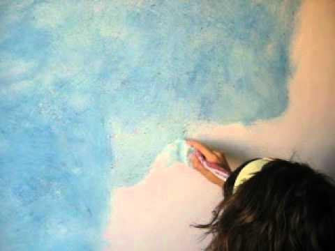 Pintar con pintura jaspeada youtube - Decoracion de paredes con pintura ...