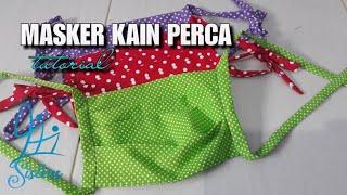 Membuat masker tali dengan bahan kain perca.
