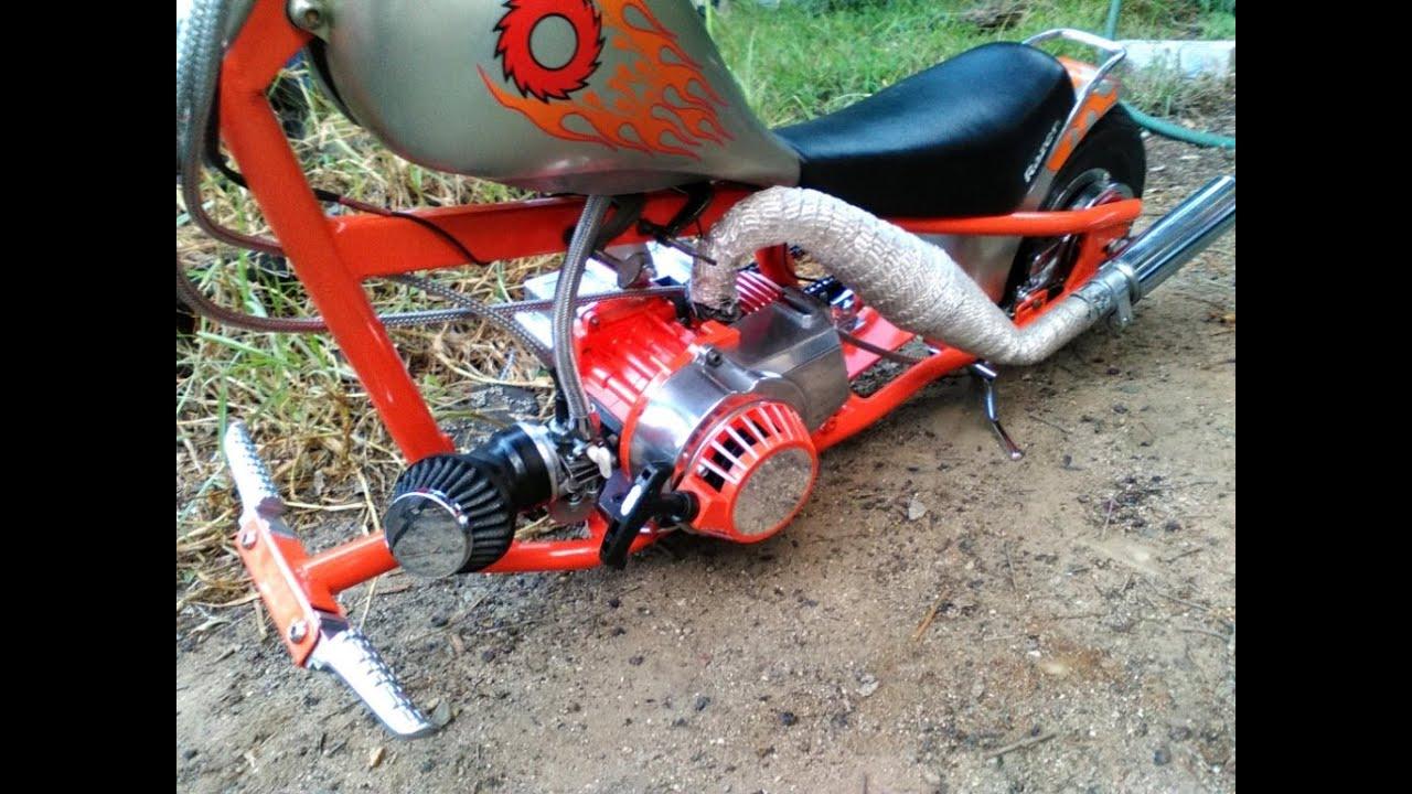 Custom Mini Chopper Pocket Bike 47cc Razor Conversion Occ Orange