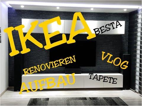 ikea-besta-wohnwand-wohnzimmer-renovieren-tapezieren-vlog-deutsch-haul