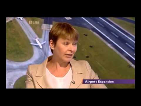 Caroline Lucas Green Party MP - airport expansion debate on BBC Daily Politics