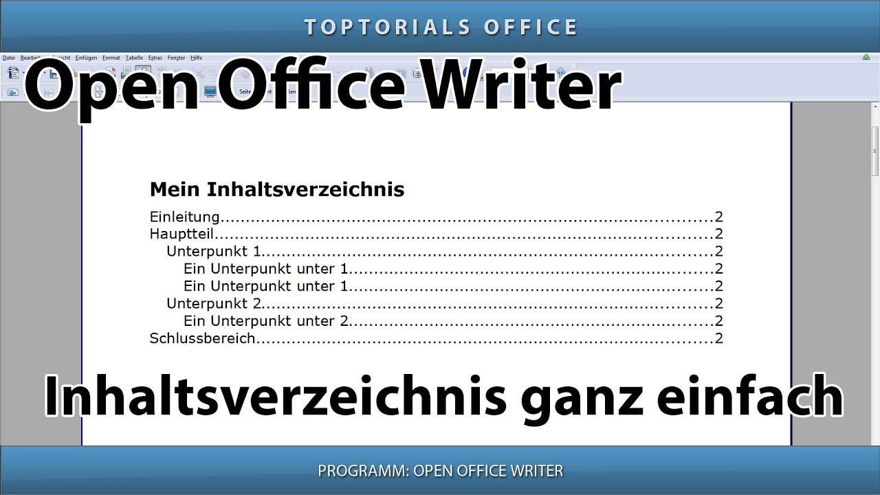 Inhaltsverzeichnis erstellen ganz einfach (Open Office Writer) - YouTube