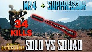 M24 + SUPPRESSOR - Menthol 34 kills LAST ONE vs SQUAD TPP [AS] - PUBG HIGHLIGHTS TOP 1 #49